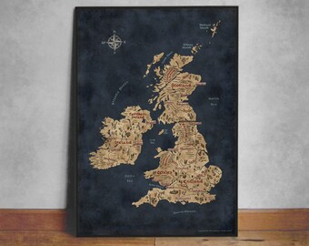 Fantasy Map of British Isles, British Isles Art, Great Britain Map, Ireland Map, United Kingdom Map, British Map Art