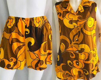 Mod Psychedelic Shorts Top, Hawaii, 2-Piece, Groovy, Vintage 60s 70s