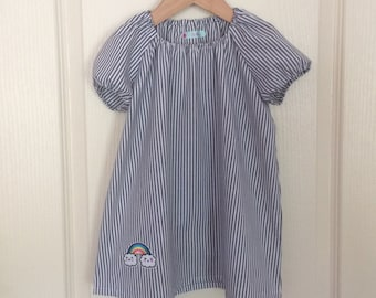 Navy Blue and white striped dress 2-3 years or Blouse - tunic 3-4 years with a matching scrunchie.