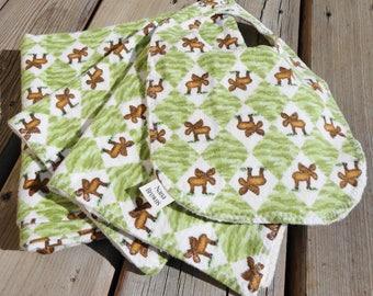 Baby Gift Set: Baby Blanket, Bib, Burp Cloth - Flannel Moose