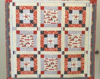 Christmas Quilt / Christmas Car Quilt / Christmas Blanket / Vintage Look Quilt / Christmas Decor / Handmade Quilt