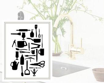 Kitchen Utensils  Print, Office Decor, Wall Art, Black & White, 8.5x11