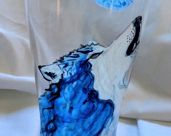 Wolf Call & Blue Moon Beer Glass--Hand Painted Wolf Howling at the Moon-Unique Gift for Birthday/Anniversary/Holiday/House Warming/Valentine