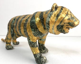 Original Money and Gold-Striped Hand-painted Tiger Statuette