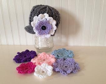 Crochet flowers, button on flowers, hat flowers