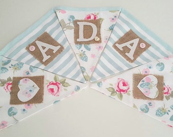 Personalised Bunting floral print and stripes
