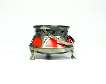 Art Deco Rechaud/tea light with red inside