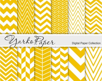 Yellow Chevron Digital Paper Pack, Chevron Scrapbook Paper, Digital Background, 12 Sheets, Personal And Commercial Use - Instant Download