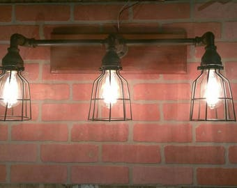 Caged Pipe Vanity Light, Industrial Pipe Lighting with Wire Bulb Cages