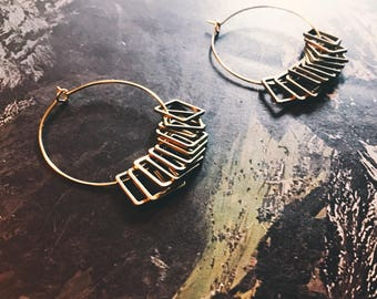 Brass hoop earrings with square findings - eleven 11 squares