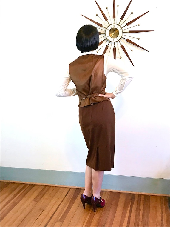 Vintage 70s Dior, Christian Dior Suit, Womens Vest & Skirt, Two Piece suit, 1970s 2 piece set, brown wool suit, ladies Dior suit, Size 10 12