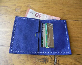 Handmade small wallet blue leather