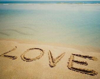 LOVE Beach Sand Writing Fine Art Print - Travel, Scenic, Landscape, Nature, Home Decor, Zen