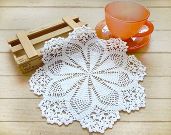 Crochet Doilies, 9 inch Doily, White Doily, Lace Doilies, Japanese Crochet Lace Doily, Wedding Doily, Home Decor, Mother's Day Gift