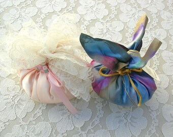 2 Large Scented Silk Sachets, pink with lace & rainbow colors