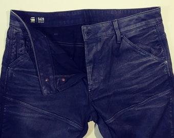 "36"" Waist RAW 5620 3D Slim Charcoal Black Denim Jeans 5 Pocket Front Button Fly Skinny Leg Jean Pant Motorcycle Moto Rocker Rugged Menswear"