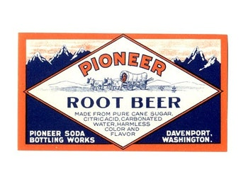 2 Pioneer Root Beer Soda Labels
