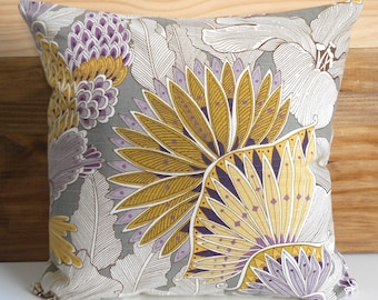 Purple and yellow floral decorative pillow,  throw pillow