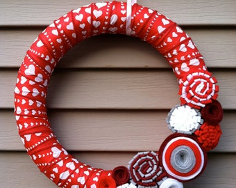 Valentine's Day Wreath - Red & White Heart Ribbon Wreath decorated w/ felt flowers. Heart Wreath - Valentine's Day Decoration -Ribbon Wreath
