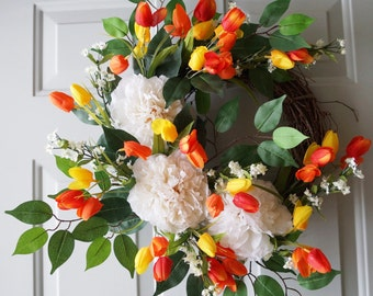 New Spring Wreath, Peonies Tulips Wreath, Door Wreath
