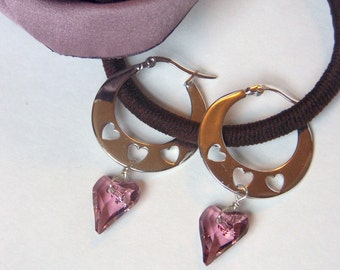 Silver Plated Hoop Earrings with Swarovski Heart Shaped Amethyst Crystal Dangle and Hearts Punched out from Flattened Hoop