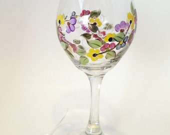 Hand Painted Multi-colored Flowers on a Vine Wine Glass With Butterflies