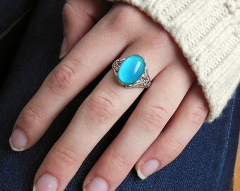 Mood Ring,  Silver Mood Ring,  Color Changing Mood Stone, Vintage Inspired Mood Jewelry