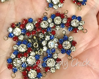 Patriotic crystal flower setting (x6+)