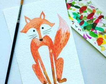 Fox Watercolor 5x7