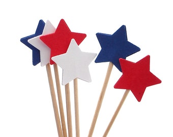 4th of July Star Cupcake Toppers 24CT, Star Party Picks, Fourth of July Cupcake Topper, 4th of July Star, Red, White, Blue - No983