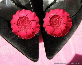 Shoe Clips Vintage Flowers Wedding Estate Jewelry Bloomers Magenta Pink Modernist Mid Century Bold Statement Hollywood Mad Men High Relief