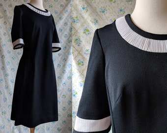 1960s mod Edith Flagg black and white sheath dress