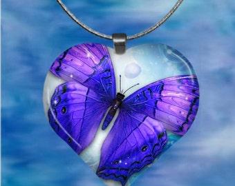 Purple Butterfly Heart Pendant with chain(Bu1.2)