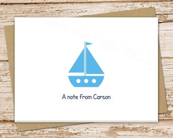 sailboat note cards notecards . personalized folded stationery stationary . nautical kids baby . thank you cards . set of 8