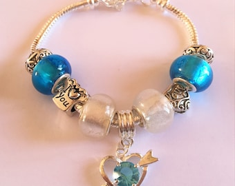 Bracelet charm's, blue, white, with heart charm and rhinestone ref 698