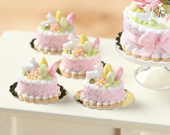 MTO-Easter Individual Pastry Decorated with Candy Eggs and Bunny - Light Pink - Miniature Food in 12th Scale for Dollhouse
