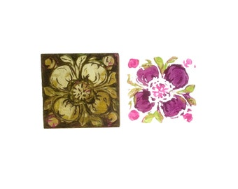 Hand Carved Linoleum Printing Block of Flower, Card Size Prints
