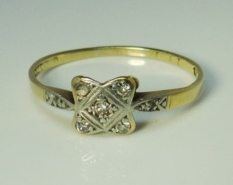RESERVED for Lana Art Deco Ladies Multi Diamond Engagement Ring in Platinum and 18ct Yellow Gold FREE POSTAGE