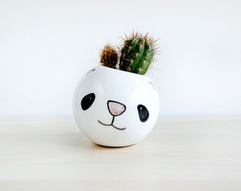 Panda ceramic plant pot, Face planter, Succulent planter, Ceramic animal planter, Ceramics & pottery, animal plant pot, Cute clay planter