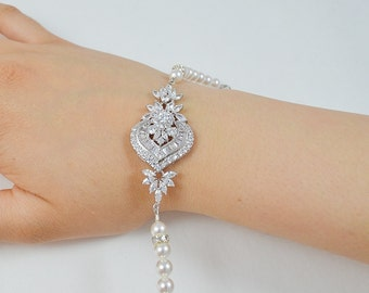 Bridal Cubic Zirconia Bracelet, Swarovski Pearls, Silver Gold Rose Set Gold Wedding Jewelry Sammy Bracelet - Ships in 1-3 Business Days