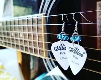 White Guitar Pick Earrings