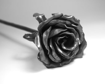 Forever Rose READY to SHIP Forged USA Made Iron 6th Wedding Anniversary Gift Steel Metal Flower Mothers Valentine's Day