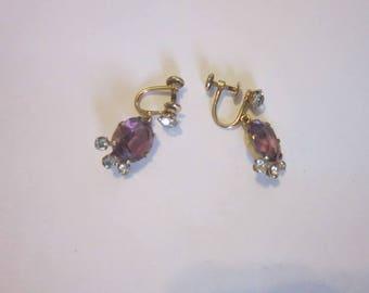 Vintage Designer Van Dell 12 K Gold Filled Screw Back Dangle Earrings with Amethyst Stone & Rhinestones