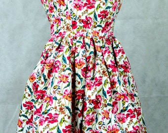 Betty draper sun dress in pink tulip multicoloured floral print, 1950s vintage inpired