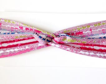 Pink Ikat Cotton Turban Headband