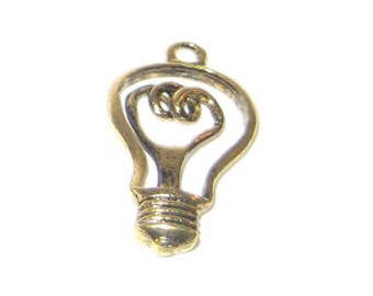 16 x 32mm Antique Gold Light Bulb Pendant / Charm