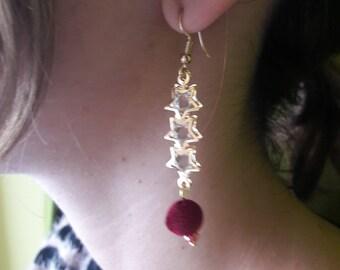 Gold, Crystal, Stars Earrings, Boho, Chic, Minimalist ,Velvet, Bordeaux Bread  , by Chrysa's hands