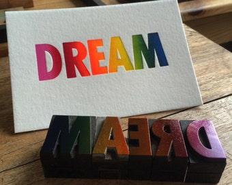 Letterpress typeset wood print - Dream