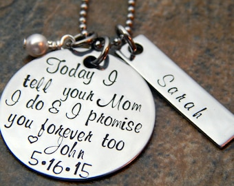 Personalized Step Daughter Wedding Gift - Groom's Daughter - Wedding Day Gift for Bride's Daughter - Promise her forever too Necklace