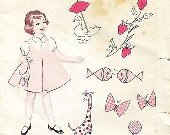 Vntg 1960's Singer Patterns 6 Designs For Decorating Little Girls Dresses UNCUT